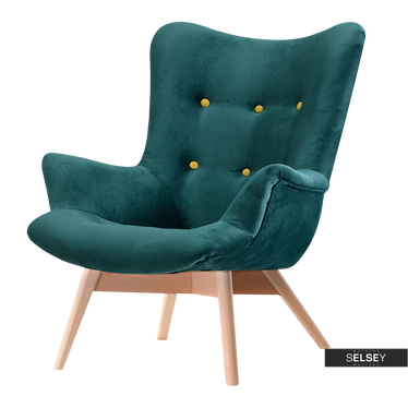 Fotel Flori butelkowa zieleń - buk pikowany uszak welurowy