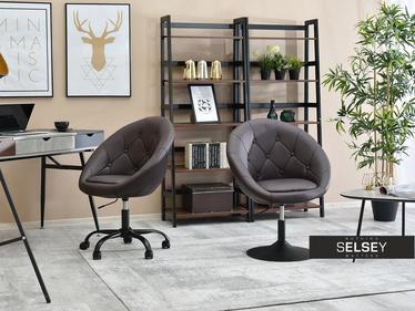 Fotel biurowy Lounge 4 brązowa ekoskóra - czarny z pikowaniem