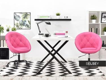 Fotel biurowy Lounge 4 różowa ekoskóra - czarny z pikowaniem