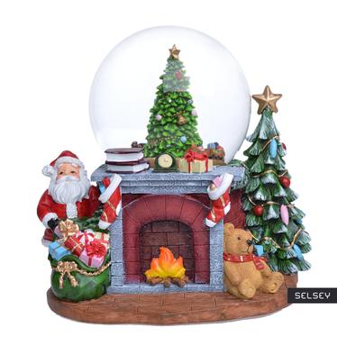 Pozytywka Mikołaj przy kominku kula ze śniegiem
