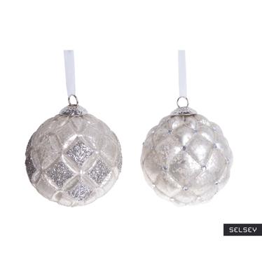 Bombki Perłowe Piki z brokatem 10 cm x2