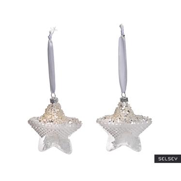 Bombki Koronkowe gwiazdy z koralikami 9 cm x2