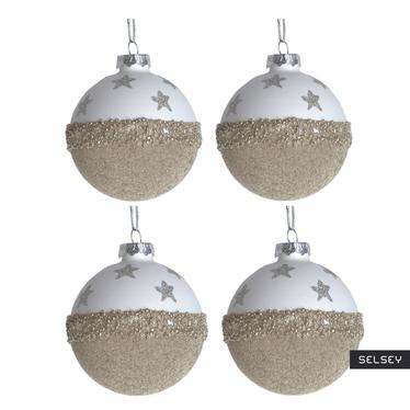 Bombki Złote Perły w gwiazdy 8 cm x4
