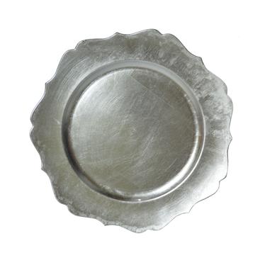 Podtalerz srebrny z pofalowanym brzegiem 33 cm