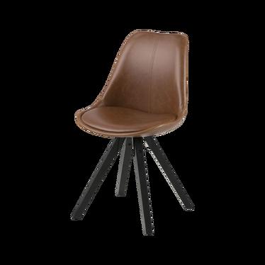 Zestaw dwóch krzeseł tapicerowanych Djum brązowo - czarne