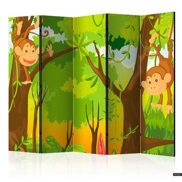 Parawan 5-częściowy - Dżungla - małpy