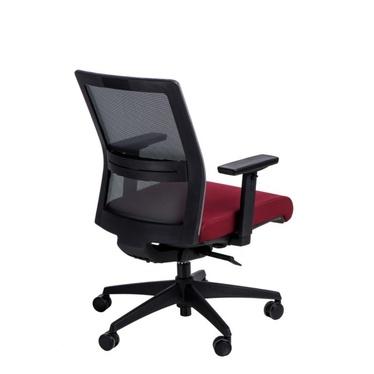 Fotel biurowy Press szaro-czerwony z obrotowym siedziskiem