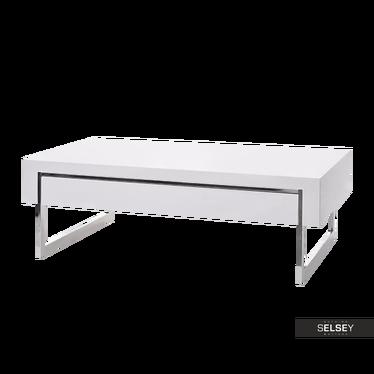 Ława Concept biały połysk 120x70 cm z szufladami