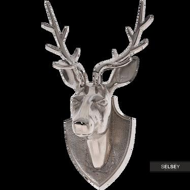 Dekoracja ścienna Głowa jelenia 34,5 cm srebrny
