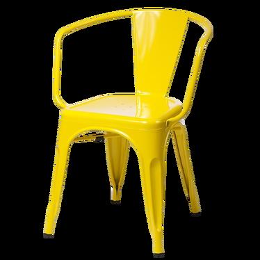 Krzesło Paris Arms żółte inspirowane Tolix