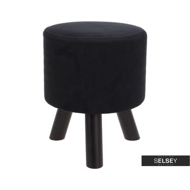 Stołek Brosnan czarny z weluru 38 cm