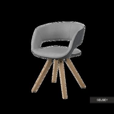 Krzesło Hannah szaro - grafitowe na nóżkach z toczonego drewna