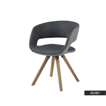 Krzesło Hannah grafitowo - szare na nóżkach z toczonego drewna