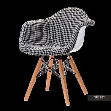 Krzesło MPA wood tap pepitka tapicerowane do jadalni