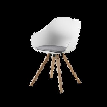Zestaw dwóch krzeseł Schino z drewnianymi nóżkami
