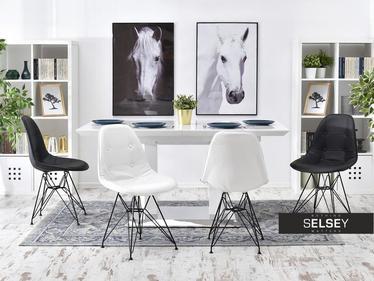 Krzesło MPC rod tap biała ekoskóra na czarnej podstawie pikowane