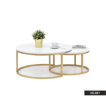 Zestaw stolików kawowych Kodia średnica 60 cm i 80 cm biało - złoty