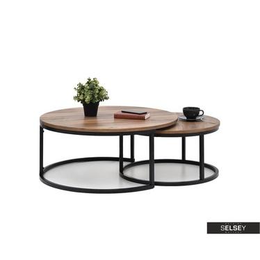 Zestaw stolików kawowych Kodia średnica 60 cm i 80 cm orzech - czarny