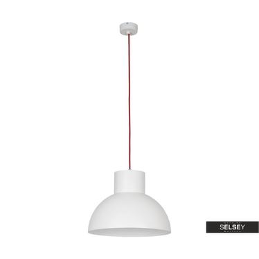 Lampa wisząca Redemption biała z czerwonym przewodem