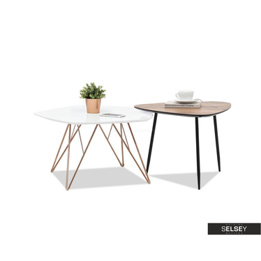 Zestaw stolików kawowych Penta 76x75 cm biały - miedź i Rosin 59x56 cm orzech - czarny