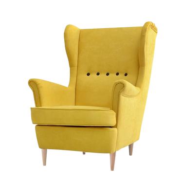 Fotel Malmo żółty uszak w nowoczesnym stylu