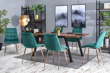 Krzesło Olsen zielono - miedziane tapicerowane