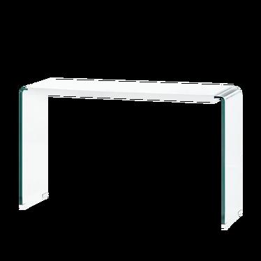 Konsola Klir biały połysk z podstawą ze szkła giętego