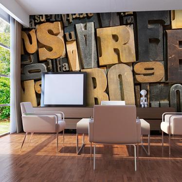 Fototapeta do biura Litery z drewna