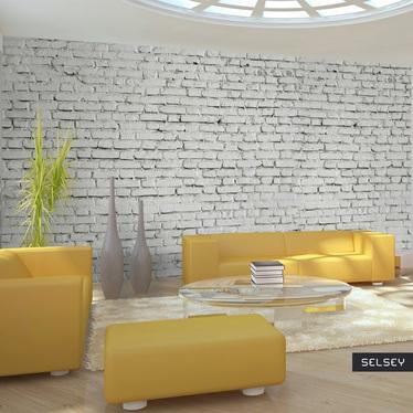 Fototapeta do biura Ściana z białej surowej cegły