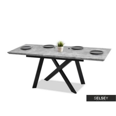 Stół rozkładany Timor 160(200)x90 cm beton - czarny industrialny