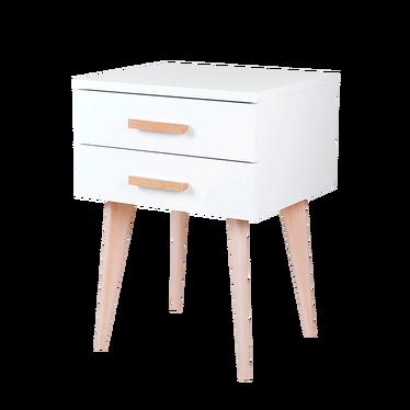 Szafka nocna Sardynia biała z dwiema szufladami