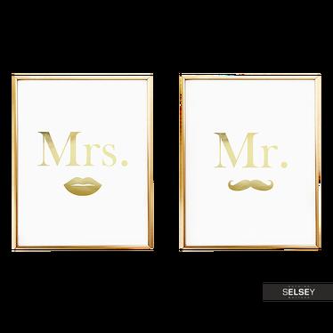 Plakat Mr Mustache & Mrs Lips – Zestaw 2 Plakatów