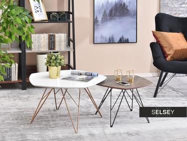Zestaw stolików kawowych Eladar 76x75 cm biały - miedź i 57x56 cm brązowy marmur - czarny