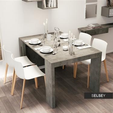 Włoski stół rozkładany Roma beton elegancki 90 cm szer