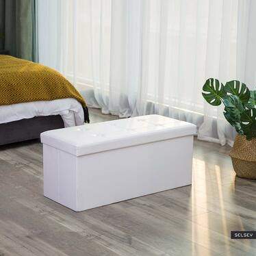Kufer Louta 76x38 cm biały tapicerowany z pikowanym siedziskiem
