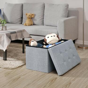 Kufer Louta 76x38 cm szary tapicerowany z pikowanym siedziskiem
