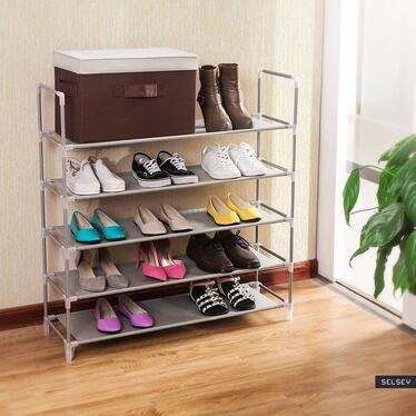 Regał na buty Textil pięć poziomów szary