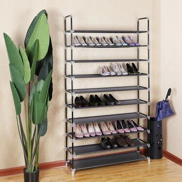 Regał na buty Textil dziesięć poziomów czarny