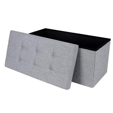 Kufer Ali 76x38 cm szary tapicerowany z pikowanym siedziskiem