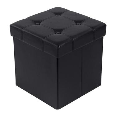 Pufa Ali 38x38 cm czarna z pikowanym siedziskiem i schowkiem