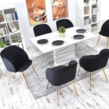 Krzesło Gary czarno - złote tapicerowane z podłokietnikami