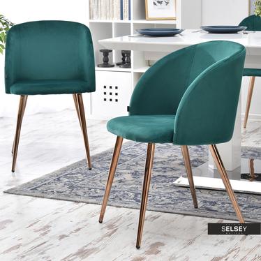 Krzesło Gary zielone na miedzianych nogach tapicerowane z podłokietnikami z sesji alfi