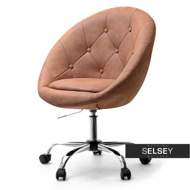 Fotel biurowy Lounge 4 jasny brąz - chrom w stylu vintage