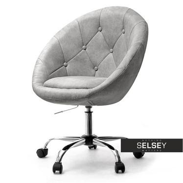 Fotel biurowy Lounge 4 szary - chrom w stylu vintage