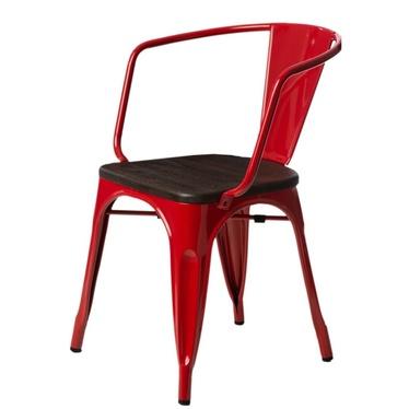Krzesło Paris Arms Wood czerwone sosna szczotkowana