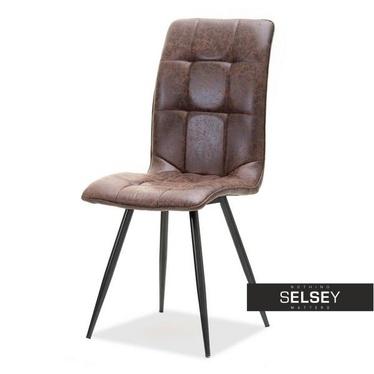 Krzesło Berber brązowe w stylu vintage pikowane