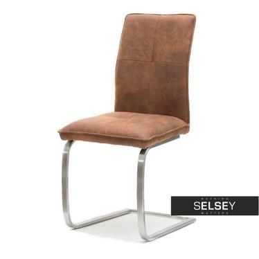 Krzesło Luca brązowe na płozie w stylu vintage