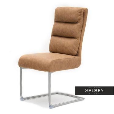 Krzesło Ivo brązowe na stalowej płozie