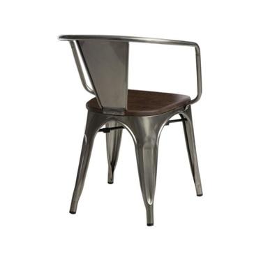 Krzesło Paris Arms Wood metaliczne - orzech