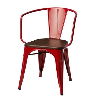 Krzesło Paris Arms Wood czerwone - orzech